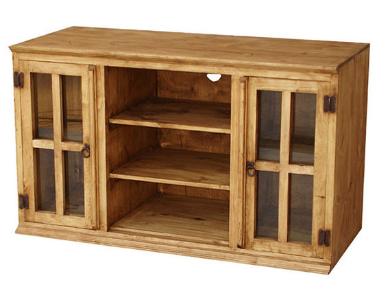 Rustic Pine Furniture for Your Hacienda - The Andrea TV Stand features extra-tall glass door cabinets with interior shelves, perfect for keeping all of your movies or CDs on display and dust free. The middle cubby holes are ideal for your cable box, DVD player, and other electronic equipment. Iron hardware and solid-wood construction complete this rustic piece.