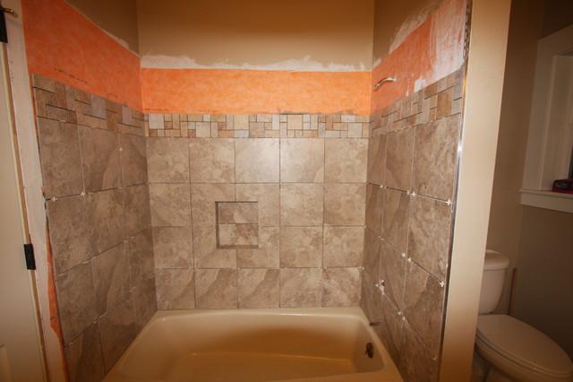 Tile Shower Surround showing Schluter Kerdi shower membrane