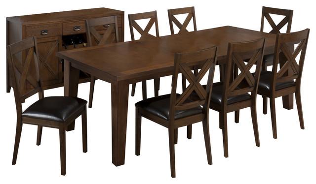 Jofran Cirrus Oak 9 Piece 72x42 Dining Room Set contemporary-dining-sets