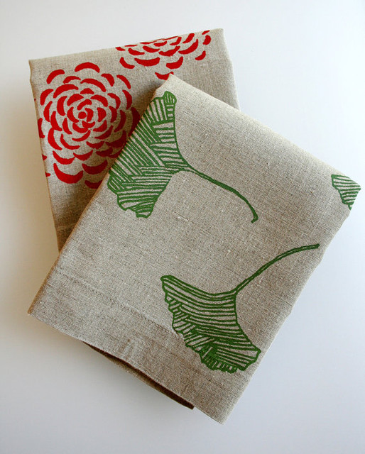 Tea Towels Flax Linen by Pony & Poppy modern dishtowels