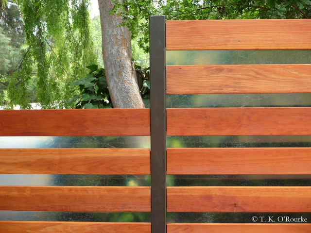 Contemporary Backyard Fences : Wood and Translucent Fiberglass Fence, Hollywood Hills  Contemporary