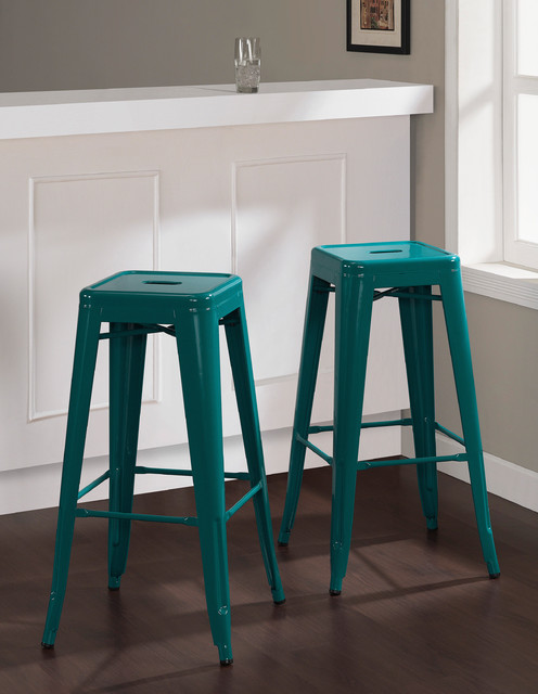 Tabouret 30 Inch Peacock Bar Stools Set Of 2 Contemporary Bar Stools An