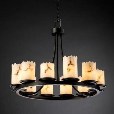 Justice Design Group LumenAria FAL-8768-12-MBLK Dakota 12-Light Ring Chandelier modern-chandeliers