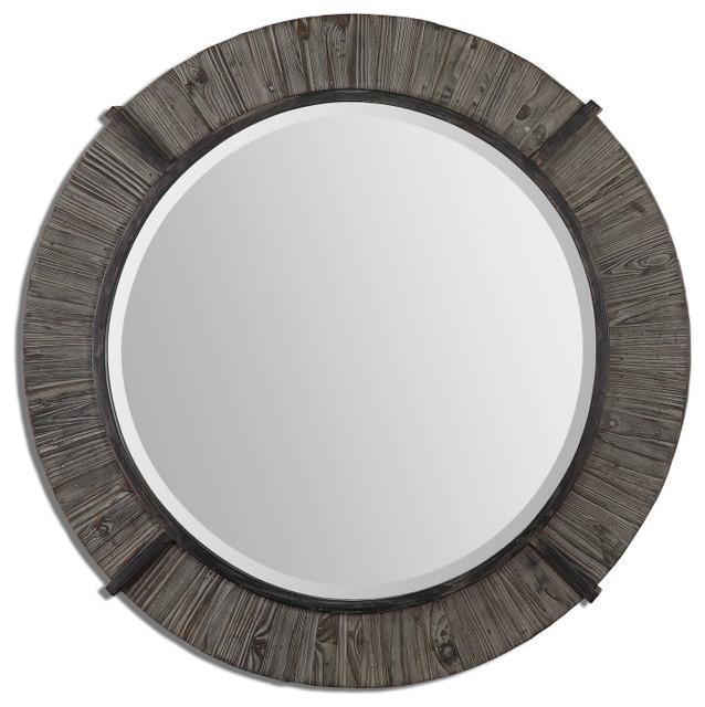 Clint Round Wood Mirror Mediterranean Mirrors By
