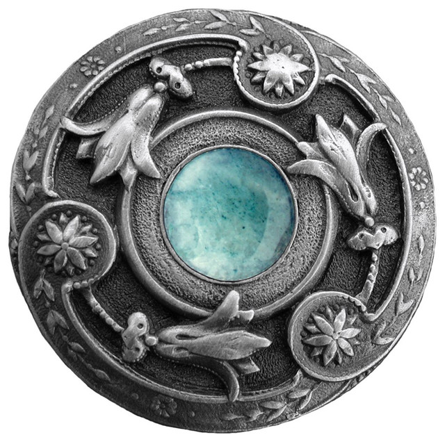 Notting Hill Jeweled Lily/Green Aventurine Knob - Antique Pewter modern-cabinet-and-drawer-knobs