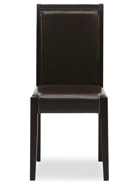 Bryght - Lita Faux Leather Light Cappuccino Dining Chair - The Lita dining chair offers distinctive style with comfort. The corner cuts in the seat are accentuated by the squared tops of its solid wooden legs, while strength and durability underline this dining chair's beautiful structure.