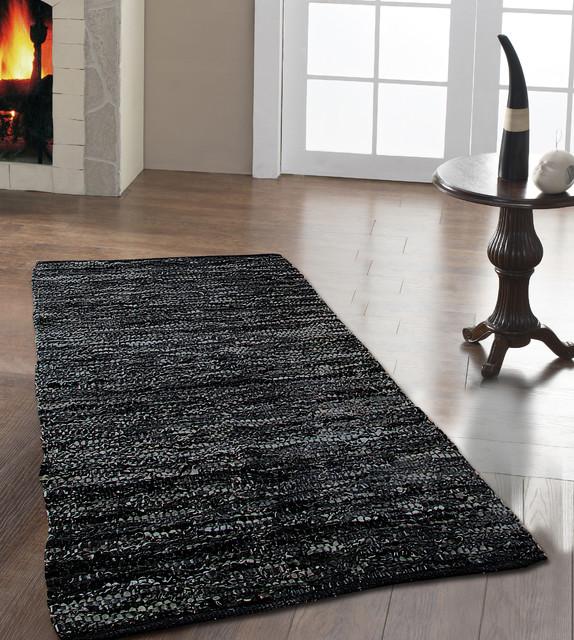 Denver Leather Woven Rug Black modern-rugs