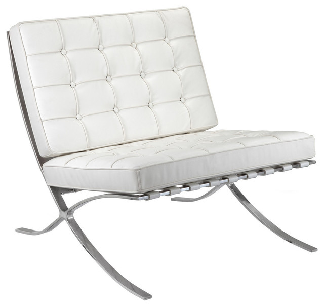 M331 Barcelona Lounge Chair in White Leather Contemporary Armchairs And A