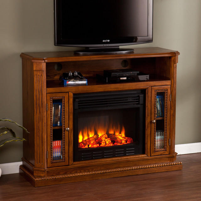 Upton Home Copeland Oak Media Console Stand Electric Fireplace Contemporary Indoor
