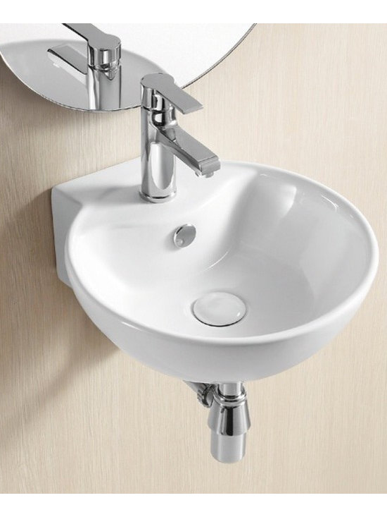 "Caracalla - Gorgeous Circular Wall Mounted White Ceramic Sink by Caracalla - This gorgeous circular bathroom sink is designed in Italy by Caracalla. Contemporary round wall mounted sink made of high quality white ceramic. Includes a single faucet hole and standard overflow. Sink dimensions: 15.80"" (width), 5.91"" (height), 16.73"" (depth)"
