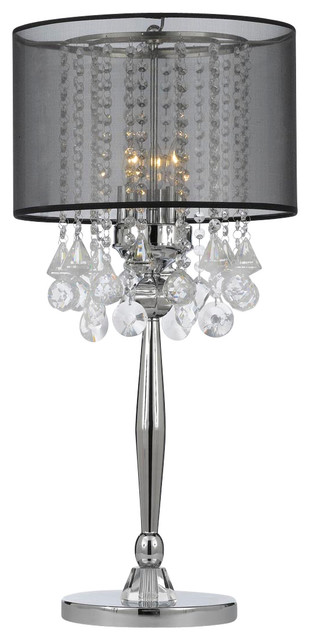 Silver Mist 3 Light Chrome Crystal Table Lamp With Black