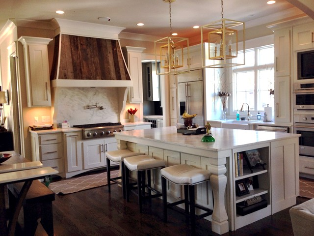 Painted White Cabinets w/ Barn Wood Accented Hood, Arched Bottoms and Island - Contemporary ...