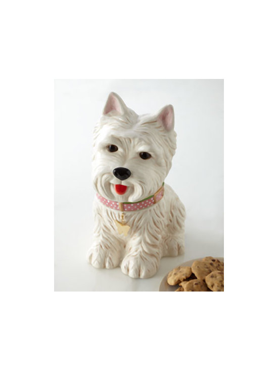 "Horchow - Westie Cookie Jar - Exclusively ours. Ready for a bellyful of treats, our hand-painted white Westie wears a pink polka-dot collar with Neiman Marcus signature tag. Handcrafted of dolomite. Hand wash. 72-ounce capacity. 9.5""W x 7.25""D x 11.75""T. Imported."