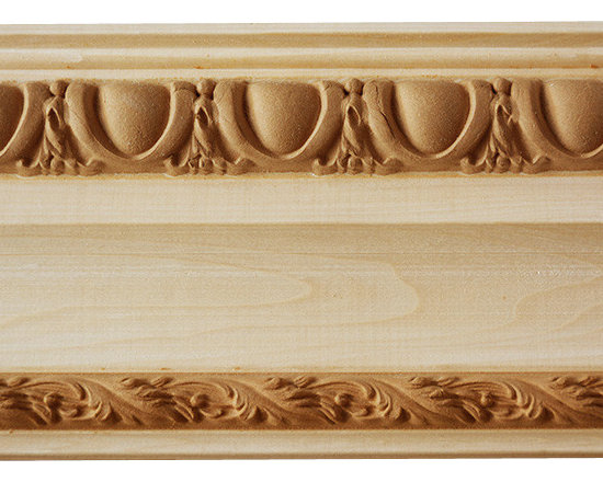 "Inviting Home - Providence Crown Molding - wood crown molding 6-1/8""H x 5""P x 7-3/4""F x 8'00""L sold in 8 foot length (3 piece minimum required) Outstanding quality crown molding profile milled from high grade kiln dried solid poplar hardwood. High relief ornamental design crafted using fine grade stainable composition material. Crown molding sold unfinished and can be easily stained painted or glazed. The installation of the wood crown molding should be treated the same manner as you would treat any wood molding: all molding should be kept in a clean and dry environment away from excessive moisture. Acclimate wooden moldings for 5-7 days. When installing wood crown moldings it is recommended to nail molding securely to studs and glue all mitered corners for maximum support."