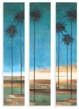 Palm tree canvas wall art set of 3 contemporary - Bed bath and beyond palm beach gardens ...
