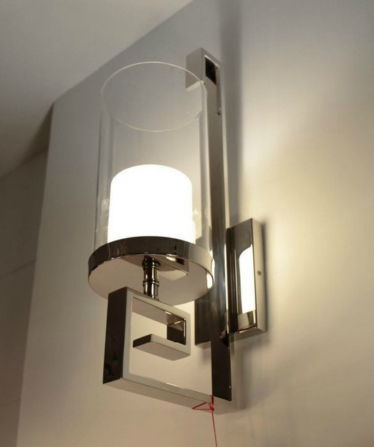 Contemporary Wall Sconces Glass : Modern Steel and Glass Wall Sconce in Polished Chrome Finish - Contemporary - new york - by ...