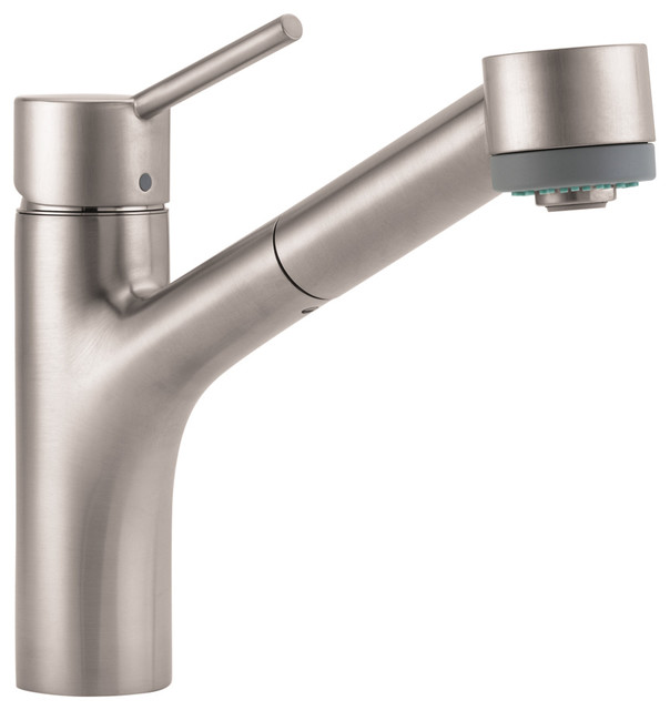 Hansgrohe 6462860 Talis S Single Hole Kitchen in Steel Optik modern-kitchen-faucets