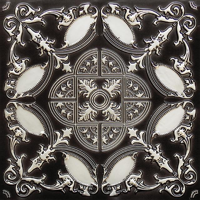 """Golden Prague - Faux Tin Ceiling Tile - Glue up - 24""""x24"""" - #218 ( Antique Silve ceiling-tile"""