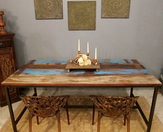Blue Rustic Modern Dining Table - Eclectic - Dining Room ...
