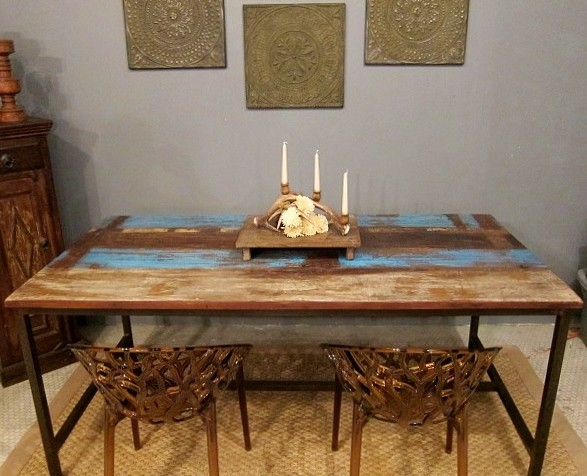 blue rustic modern dining table eclectic dining room st louis