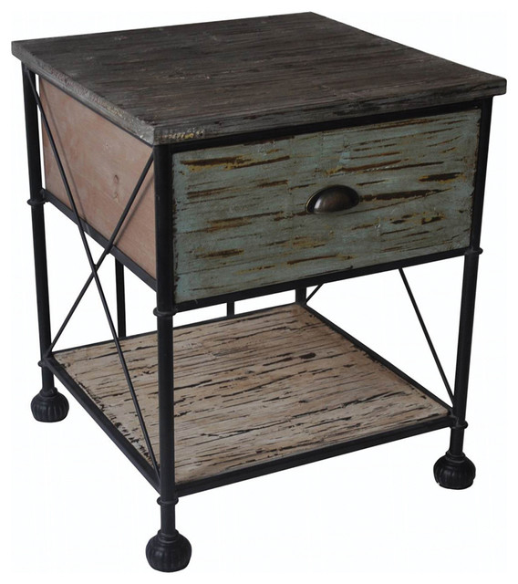 Home Decor Gift Wooden Side Table W/ Shelves Drawers Metal Frame And Ball Feet - Rustic - Side ...