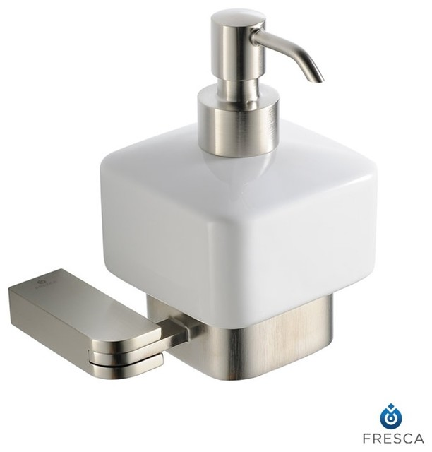 Fresca Solido Lotion Dispenser Wall Mount Brushed Nickel Modern Bathroom Accessories