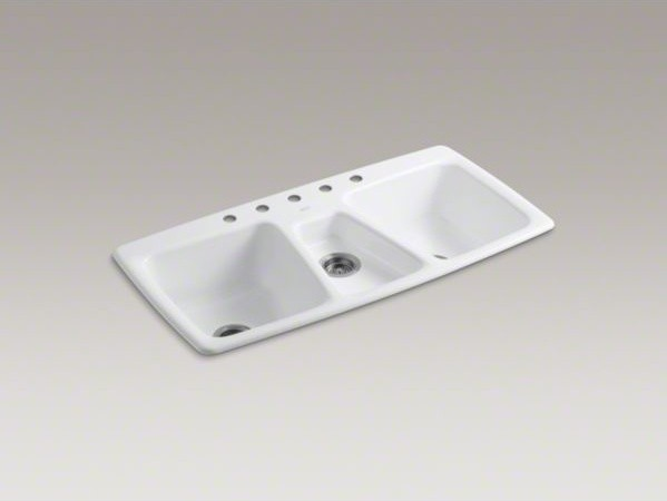 Triple Bowl Sink : ... top-mount triple bowl kitchen sink with 5 contemporary-kitchen-sinks