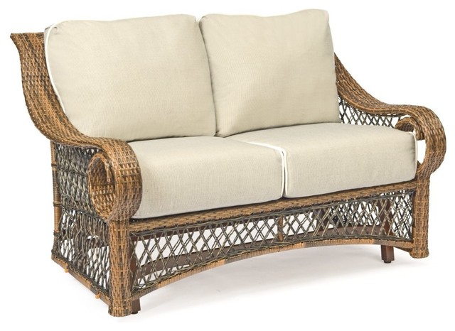 Woodard Belmar All Weather Wicker Gliding Loveseat Traditional Patio Furniture And Outdoor