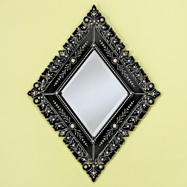 Small diamond black venetian wall mirror 35w x 35h in for Black venetian mirror
