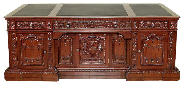 7Ft Wide Mahogany Leather Top Presidential Oval Office Resolute Desk - Traditional - Desks And ...