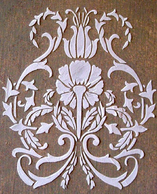 Raised Plaster Floral Damask Stencil Wall Stencils