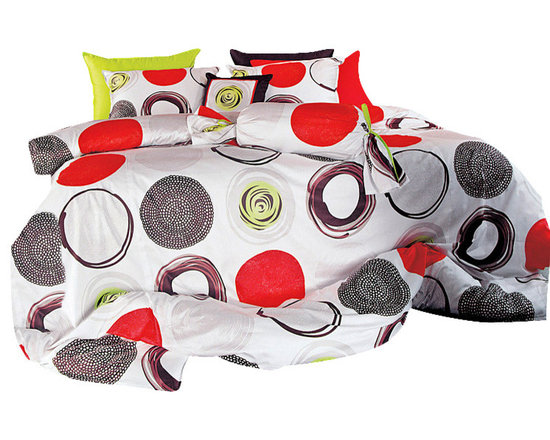 Blooming Home Decor - Modern Red & Lime Green Circle Pattern Queen Sheet Set  , Queen - You won't have to sacrifice color for quality with this 100% cotton, 820 thread count sheet set. Combining eye-popping circles of red, black, white and apple green, this set will liven up a room and bring some major fun to bedtime. You will be able to enjoy the artistic liveliness of a bed decked out in artistic red.