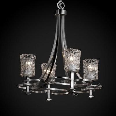 Justice Design Group Veneto Luce GLA-8560-16-CLRT-NCKL Arcadia 4-Uplight Chandel modern-chandeliers