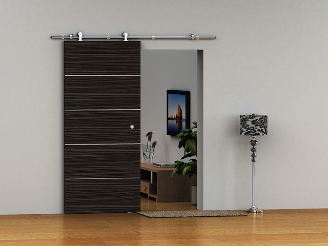 Modern barn door hardware for wood door contemporary for Sliding main door