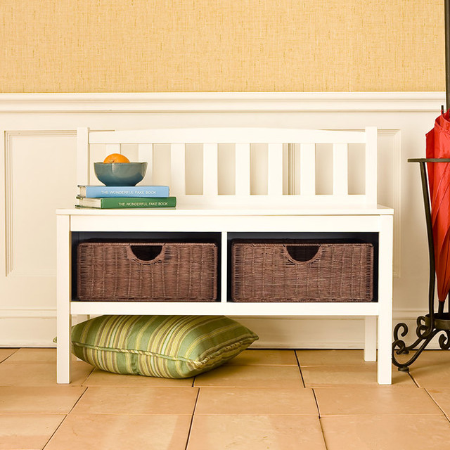 Overstock Foyer Bench : Beacon white bench with rattan baskets contemporary
