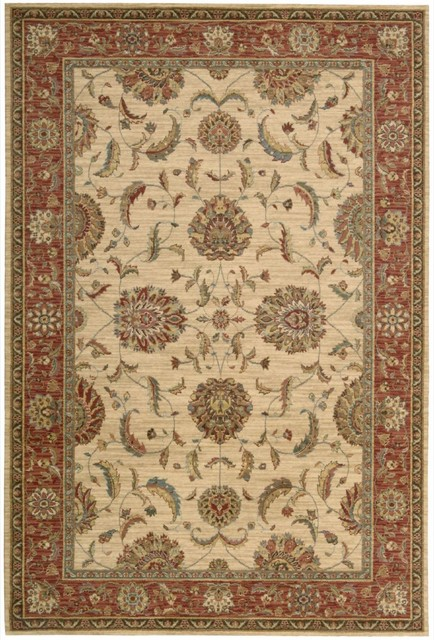 "Traditional Living Treasures 9'9""x13'9"" Rectangle Ivory Red Area Rug traditional-area-rugs"