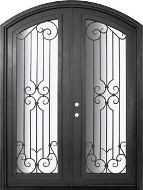Milano 72x96 Arch Top Wrought Iron Double Door 14 Gauge Steel - Mediterranean - Front Doors ...