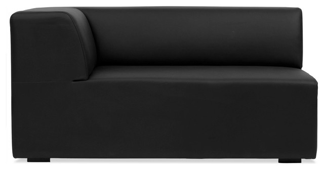 Seed Black Leather Corner Module Left Small contemporary-sofas