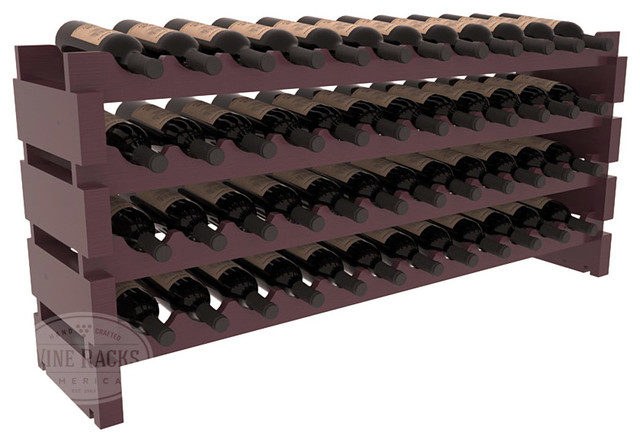 48 Bottle Scalloped Wine Rack in Pine with Burgundy Stain + Satin Finish contemporary-wine-racks