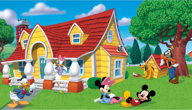 Disney Mickey Friends Giant Wallpaper Accent Mural contemporary-wallpaper