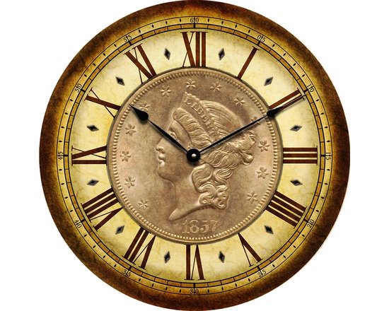 """CoinClocks - 1857 Coin Clock, 24"""" - Reproduction of an 1857 Coin will look fabulous in your home of office"""