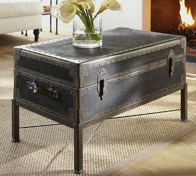 Ludlow Trunk With Stand Coffee Table Black Traditional Coffee Tables By Pottery Barn