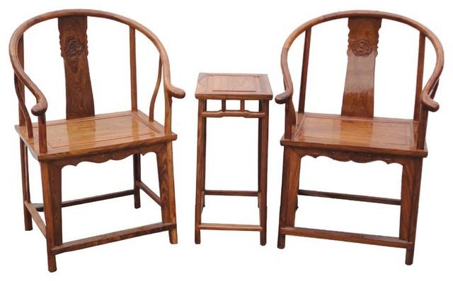 Pair Chinese Yellow Brown Elm Wood Horseshoe Arm Chair