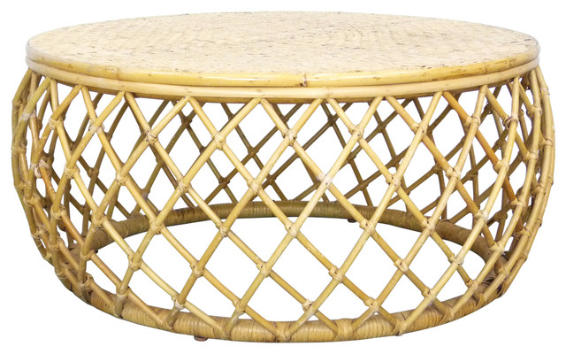 Consigned Bamboo Rattan Vintage Round Drum Coffee Table Contemporary Candleholders By