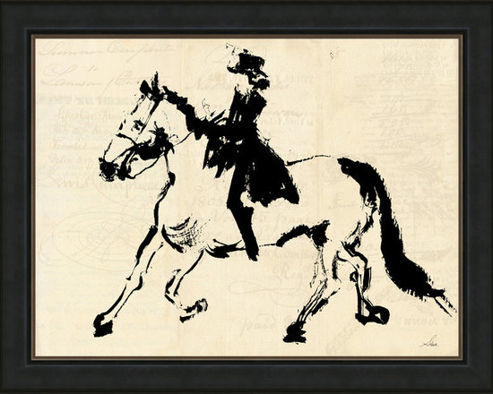 Soicher-Marin - Horse + Rider on Script B.G - Giclee Print with an antiqued Black aged pine wodd frame with a brown/tan linen liner.  Includes glass, eyes and wire. Made in the USA. Wipe down with damp cloth