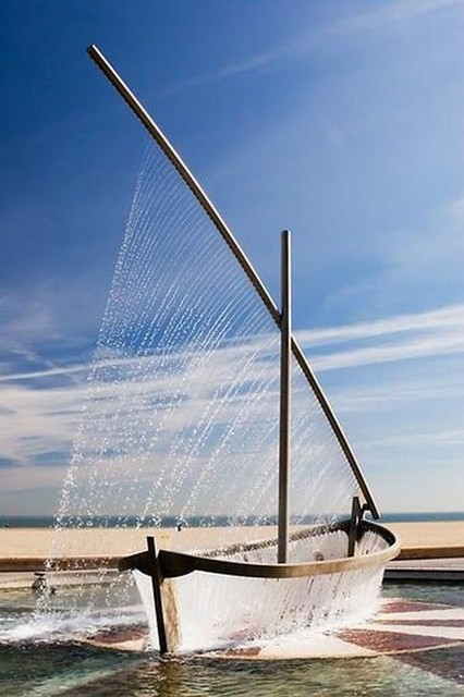 Fountain-sailboat modern outdoor fountains