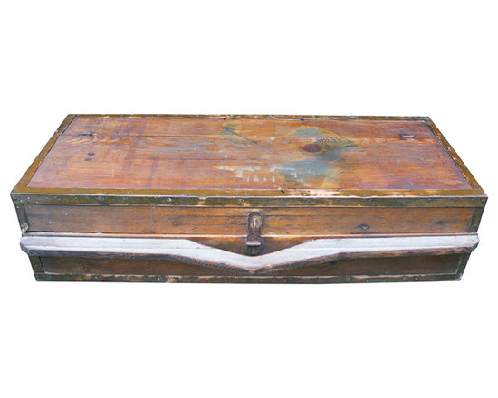 Tool Box - Finely handcrafted wooden tool box with copper trim. Features small interior compartments. Perfect accent or conversational piece to add to any space.
