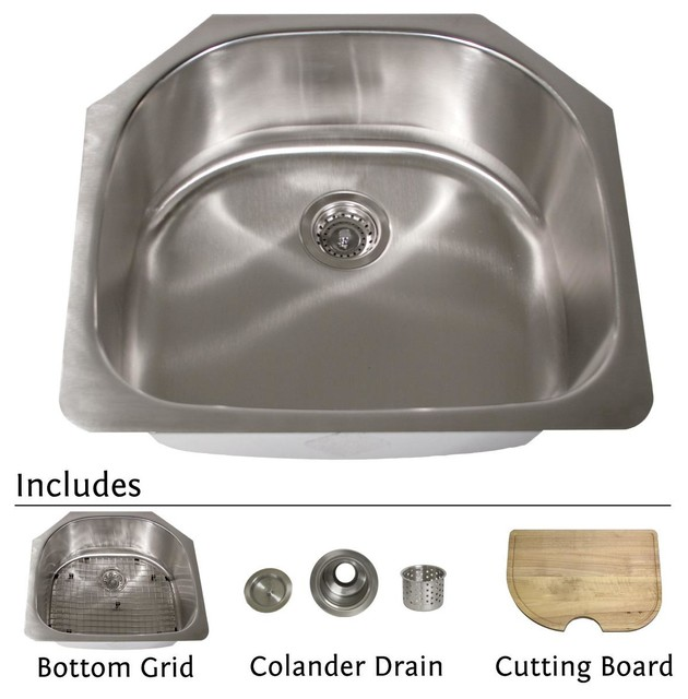 24 Inch Stainless Steel Farmhouse Sink : Collection Stainless Steel 24-inch Classic D-style Kitchen Sink ...