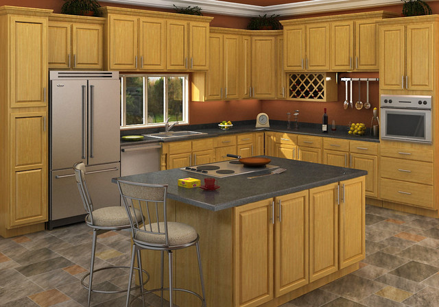 Carolina oak kitchen bathroom cabinet for Kitchen cabinets houzz