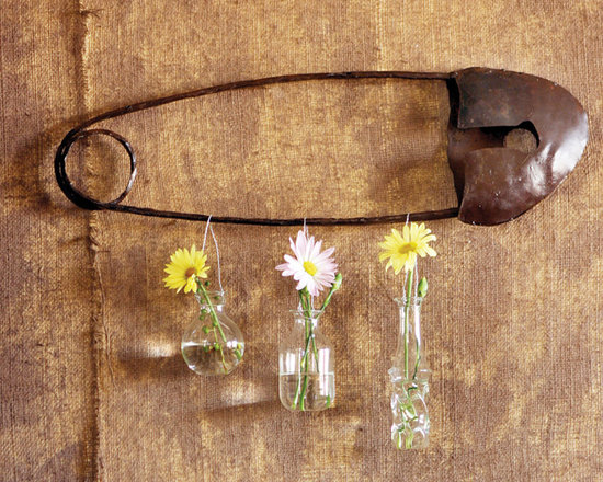 Scrap Metal Safety Pin Wall Art - These unique, hand-crafted accessories are imported from small cottage industries in Colombia, Honduras, Haiti, Morocco, and more.
